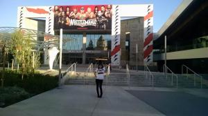 Standing outside of the convention center.